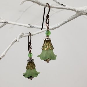 Jewelry - Earring - Acrylic Flowers - Green